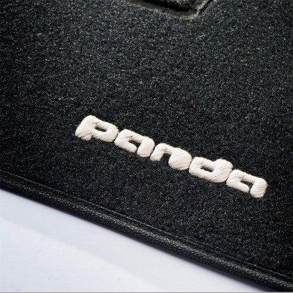 Panda 2011+ Tailored Fitted Carpet Black Mats Logo & Fix Pin