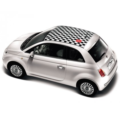 Fiat 500 Chequered Roof Graphic Black|Red|White
