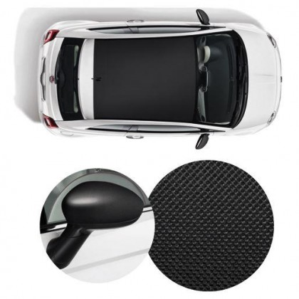 500 Wrapped Side Mirror Covers & Roof Decal - Micro Carbon Black