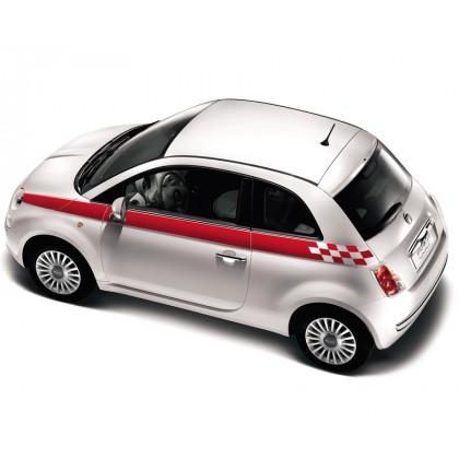 Fiat 500 Sports Side Stripes Black | Red | White