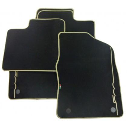 500 Car Floor Tailored Fitted Mats Ivory Logo Premium Carpet Full Set Twin Fixings