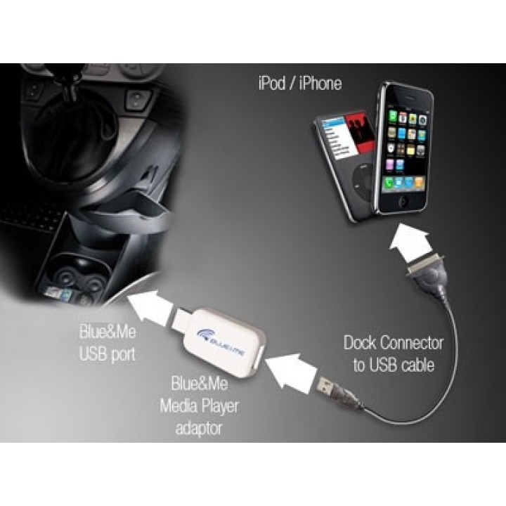 iphone ipod blue me adaptor official fiat uk store. Black Bedroom Furniture Sets. Home Design Ideas