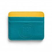 Leather Card Holder Light Blue & Yellow