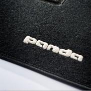 Panda 2011+ Tailored Fitted Carpet Black Mats Logo & Fix Pin