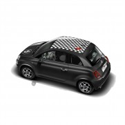 500 Chequered Roof Graphic/Decal - Number 500 & 5 Logo White/Black