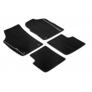 500 Premium Footwell Velour Carpet Mats [Black Edge, Ivory Logo]