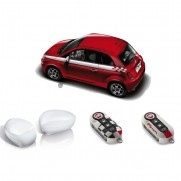 500 | 500C Side Stripes/Mirror Covers Caps/Key Covers - White Pack