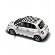500 Decals For Bonnet/Roof Black Chequered + Number (No Sunroof)