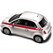 Fiat 500 Sports Side Stripes Black | Red | White