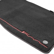 Fiat 500 - Velour Carpet Floor Mats - (Twin Fixing) [White|Black | Red Logo]